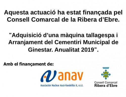 10.000,00 € / SUBVENCIÓ REEQUILIBRI COMARCAL 2019 – CONSELL COMARCAL DE LA RIBERA D'EBRE